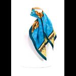 foulard en soie turquoise alambra premium CSGP-FAN 09 2