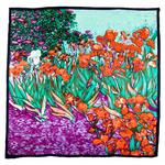 foulard en soie carre de soie les iris rouge inspiration van gogh 1