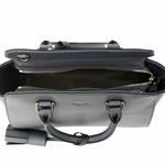 sac en cuir femme gris pompon 4