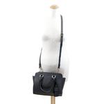 sac en cuir femme gris pompon 6