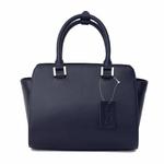sac en cuir femme bleu marine pompon 2