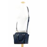 sac en cuir femme bleu marine pompon 6