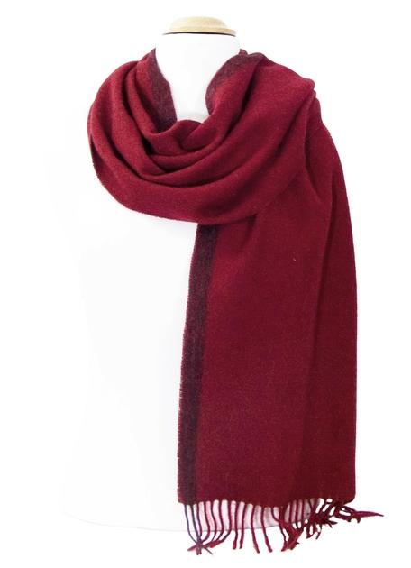 fd0835203c08 Echarpe en laine rouge bordeaux rayure - Matière Echarpe laine - Mes ...