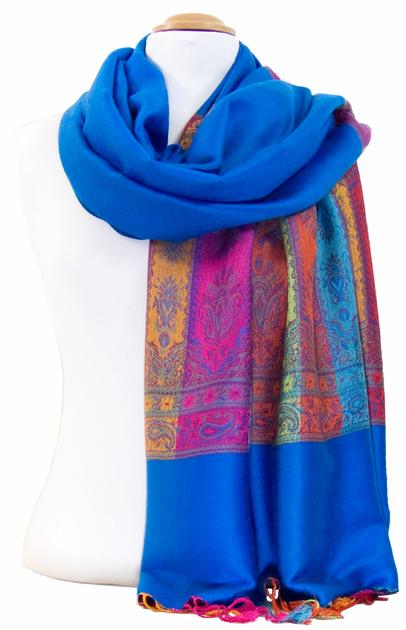 Etole pashmina bleu foncé tissée motifs multicolores - Etole ... d545f6fc8fc