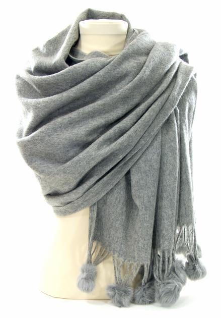 étole gris laine et fourrure ETLF01 3