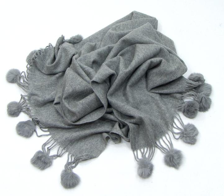 étole gris laine et fourrure ETLF01 2