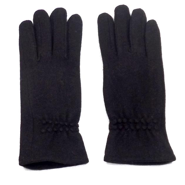 gants en laine noir pour femmes avec fronces tu accessoires mode gants laine mes echarpes. Black Bedroom Furniture Sets. Home Design Ideas