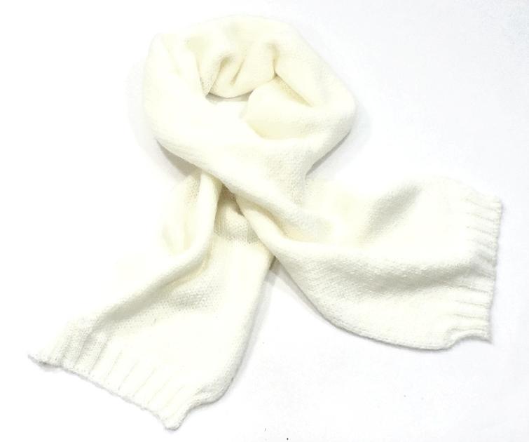 écharpe laine grosses mailles écru  EF43 1