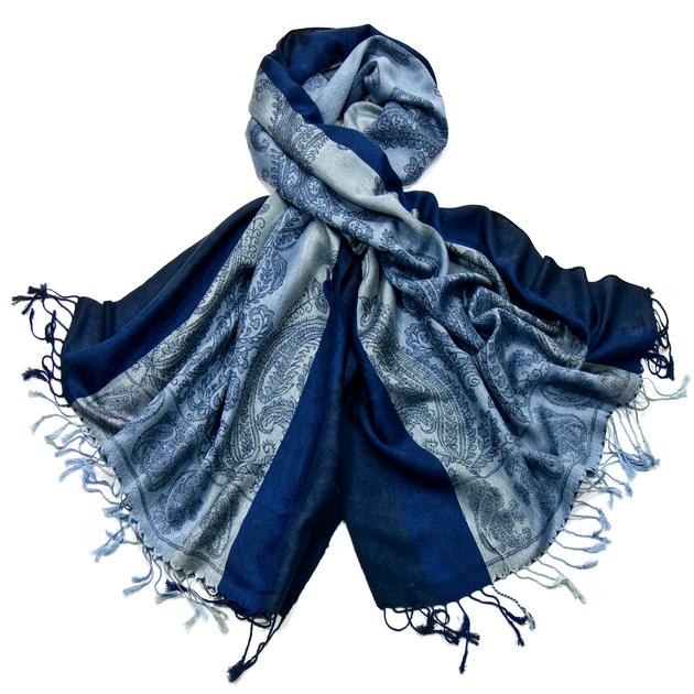 etole pashmina bleu rayures cachemire chanda ETF-FAN-54 2
