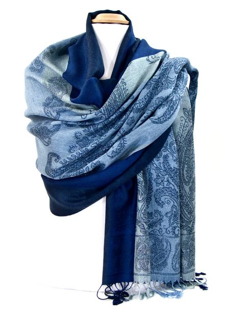 etole pashmina bleu rayures cachemire chanda ETF-FAN-54 1