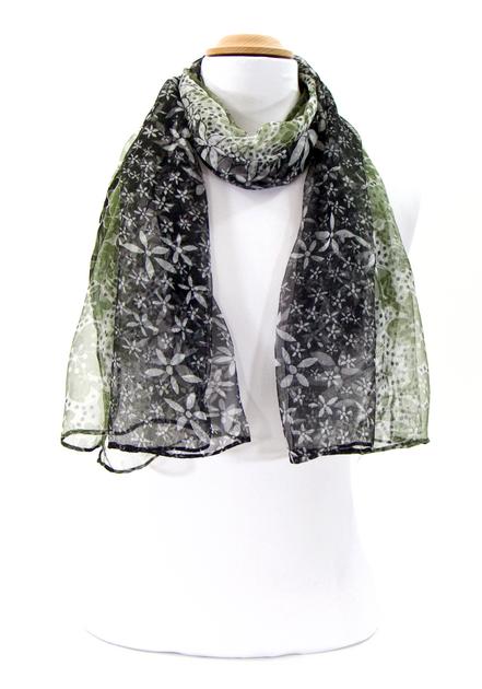 3358e08f5485 Foulard en mousseline de soie tie and dye vert - Foulard Foulard soie ...