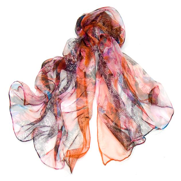 foulard mousseline de soie orange africa EMS-FAN-160 1