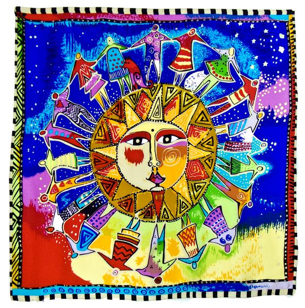 foulard en soie bleu soleil premium CSGP-FAN 08 1