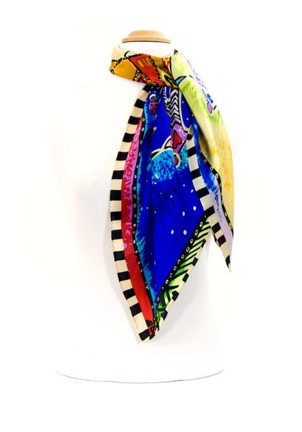 foulard en soie bleu soleil premium CSGP-FAN 08 2