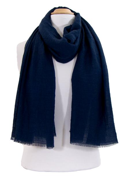 outlet à vendre qualité-supérieure photos officielles Foulard chèche bleu marine lin coton premium