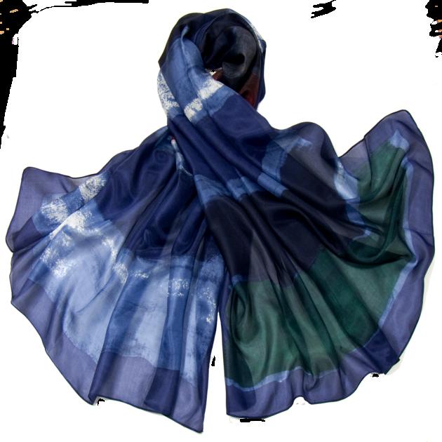 Etole en soie bleu tie and dye ETL-FAN 73 2