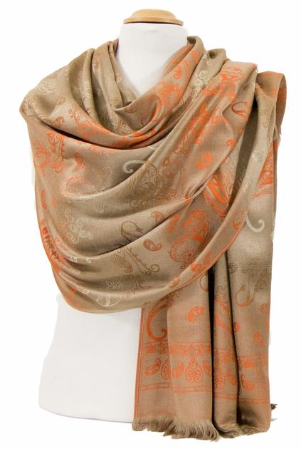 etole en pashmina beige orange motifs dégrades 2