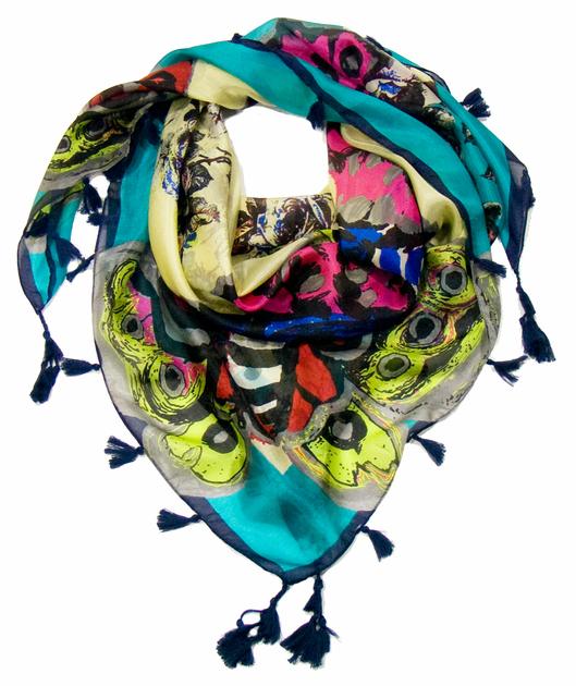 foulard en soie papillons vert 2