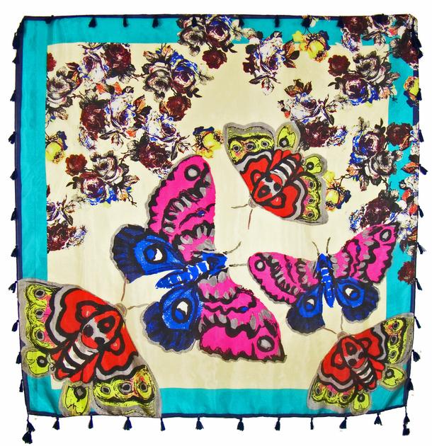 foulard en soie papillons vert