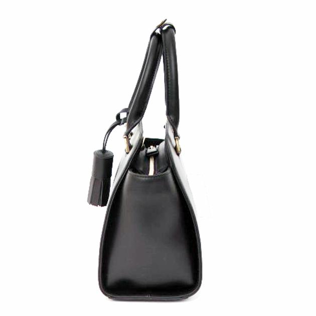 sac en cuir femme noir pompon 3