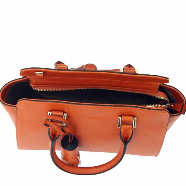 sac en cuir femme orange pompon 4
