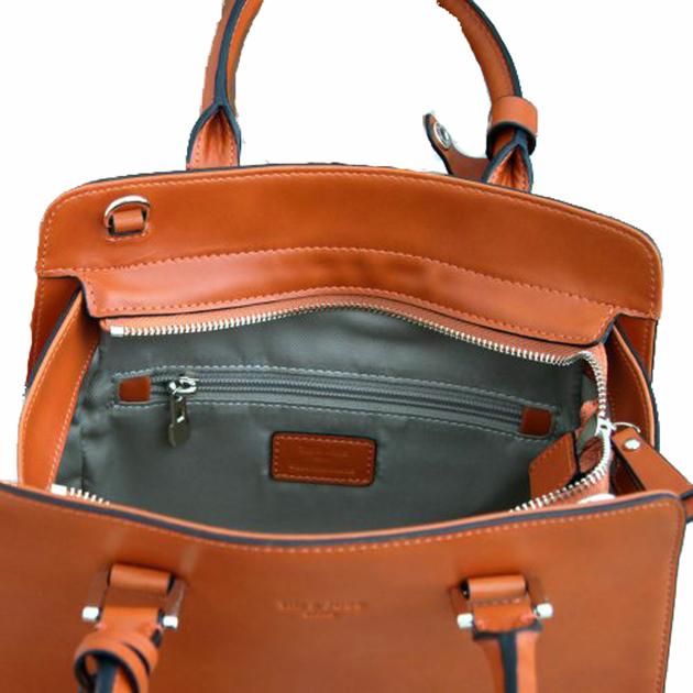 sac en cuir femme orange pompon 5