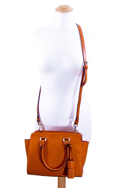 sac en cuir femme orange pompon 6