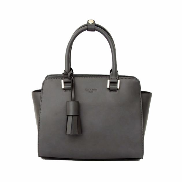 sac en cuir femme gris pompon