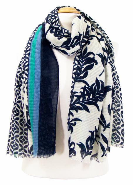 foulard cheche bleu bambou 2