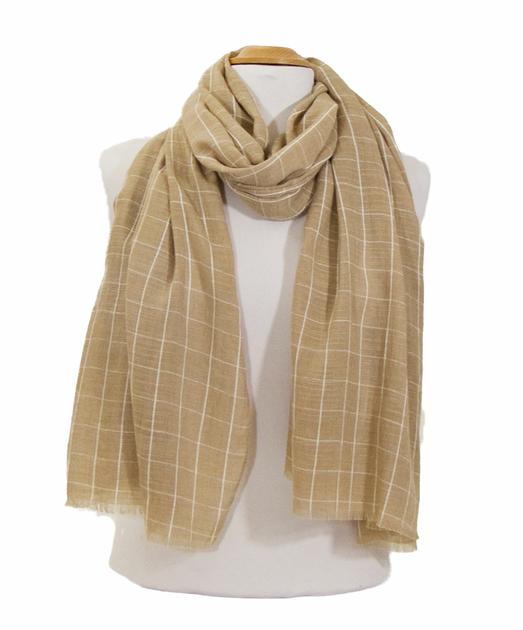 foulard cheche homme beige carreaux 2