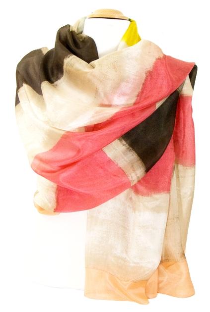 etole en soie tie and dye pêche