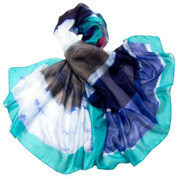 etole en soie bleu tie and dye premium etole etole soie. Black Bedroom Furniture Sets. Home Design Ideas