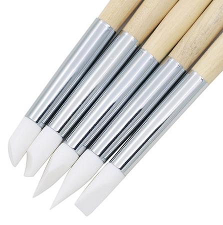 ACCESSOIRES NAIL ART - Lot de 5 pinceaux en silicone avec pochette