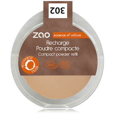 ZAO MAKE UP - Poudre Compacte - 302 BEIGE ORANGE Recharge