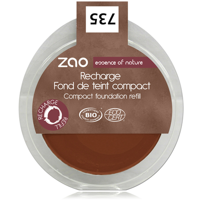 ZAO MAKE UP - Fond de Teint Compact - 735 CHOCOLAT Recharge