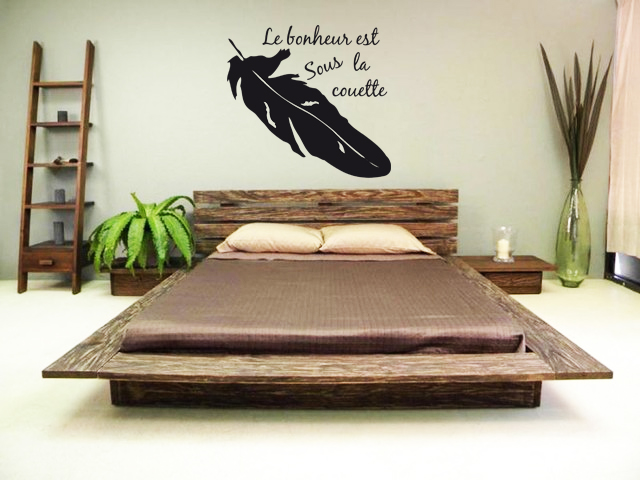 stickers t te de lit plume d co de la maison destock stickers. Black Bedroom Furniture Sets. Home Design Ideas