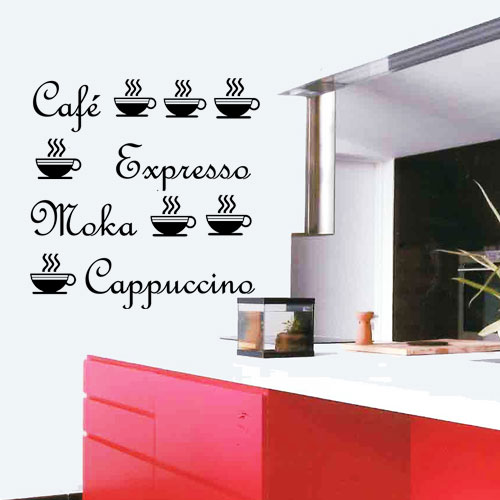 stickers caf moka capuccino tasses deco cuisine destock stickers. Black Bedroom Furniture Sets. Home Design Ideas