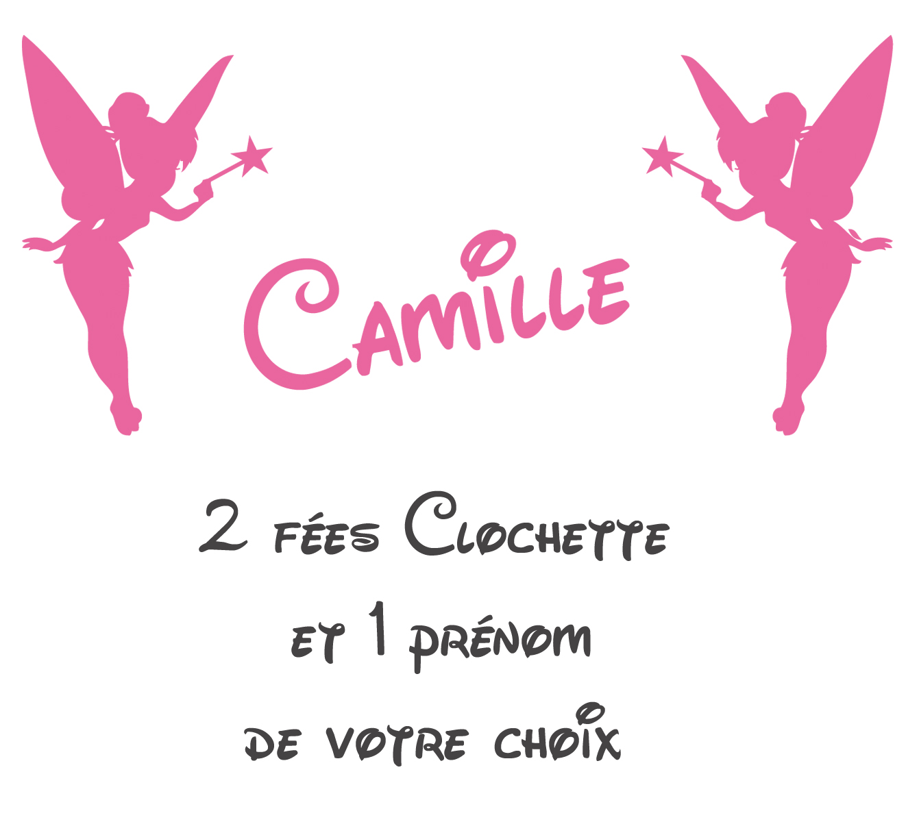 stickers 2 fées clochette Prénom offert - Les Enfants - Destock-Stickers 589ddbbc6d5d