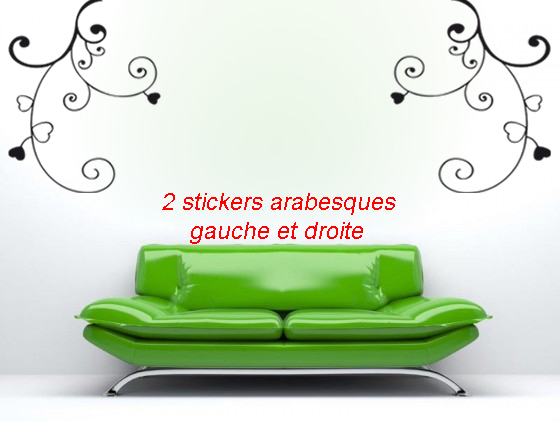 stickers arabesques lot de 2 d co de la maison destock stickers. Black Bedroom Furniture Sets. Home Design Ideas