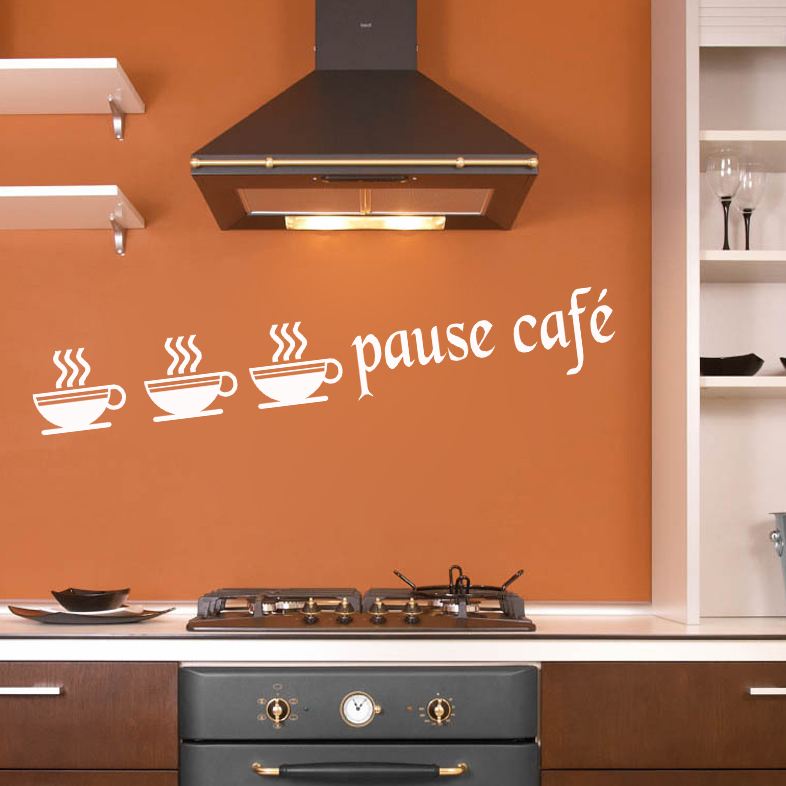 stickers autocollant d co cuisine tasse pause caf deco cuisine destock stickers. Black Bedroom Furniture Sets. Home Design Ideas
