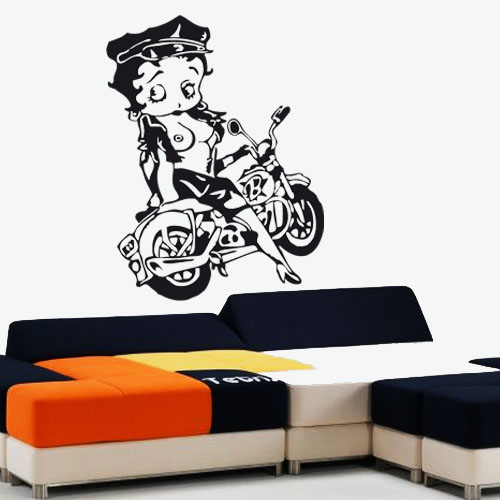 stickers betty boop sexy en moto d co de la maison destock stickers. Black Bedroom Furniture Sets. Home Design Ideas