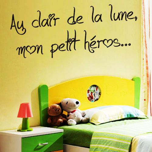 Sticker phrase pour chambre d 39 enfant au clair de la lune for Stickers chambre d enfant
