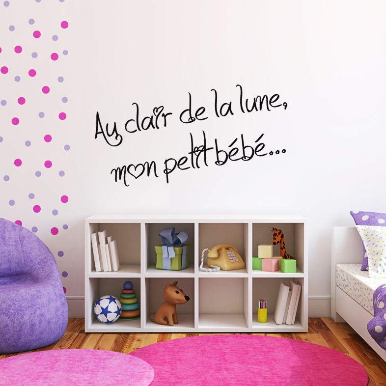 sticker phrase pour chambre d 39 enfant au clair de la lune enfants gar on destock stickers. Black Bedroom Furniture Sets. Home Design Ideas