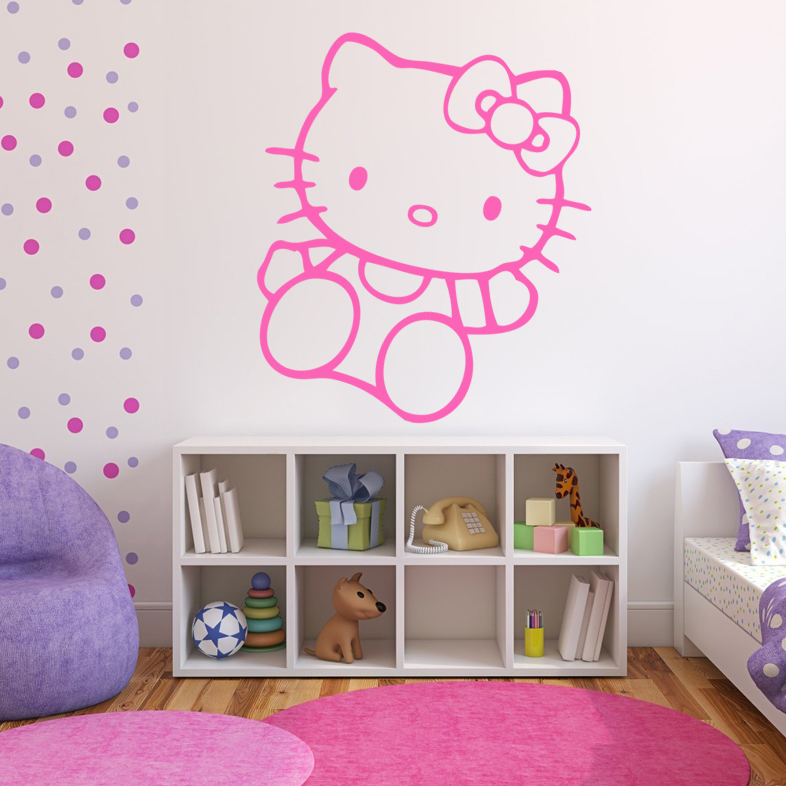 sticker hello kitty 01 enfants fille destock stickers. Black Bedroom Furniture Sets. Home Design Ideas