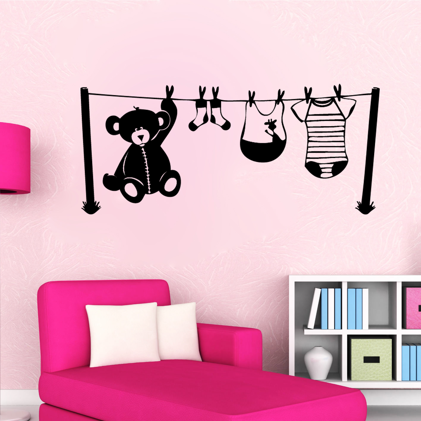 sticker chambre d 39 enfant fil linge enfants mixte destock stickers. Black Bedroom Furniture Sets. Home Design Ideas