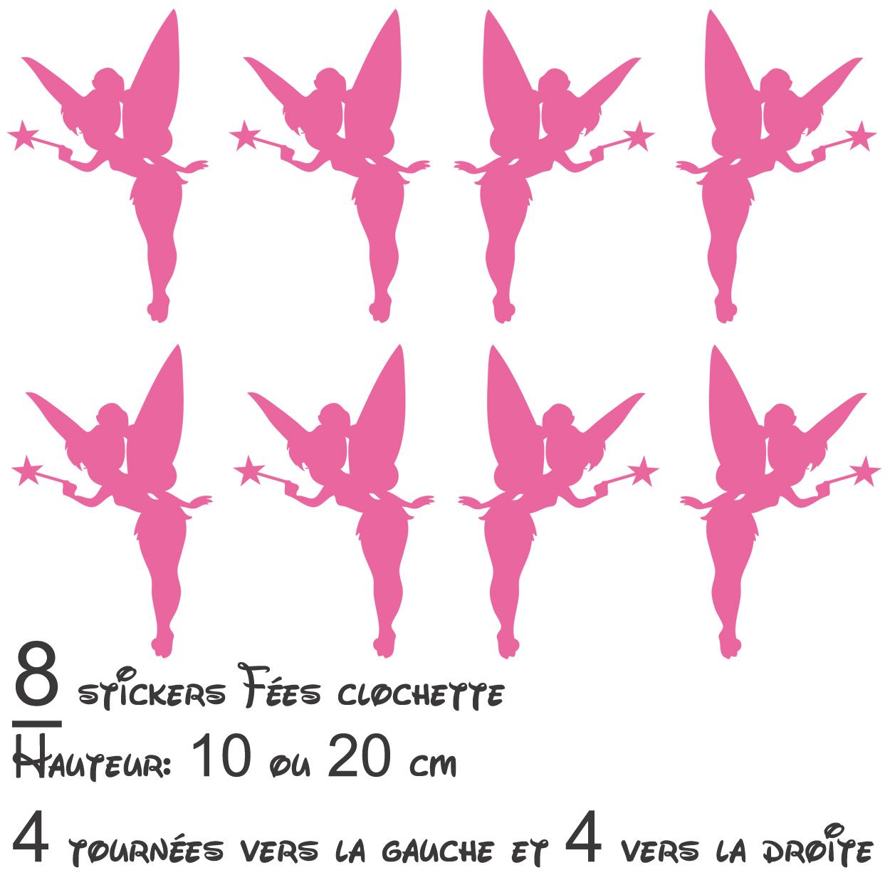 Stickers autocollant lot 8 Fées Clochette - Les Enfants - Destock ... 884c3ff60262