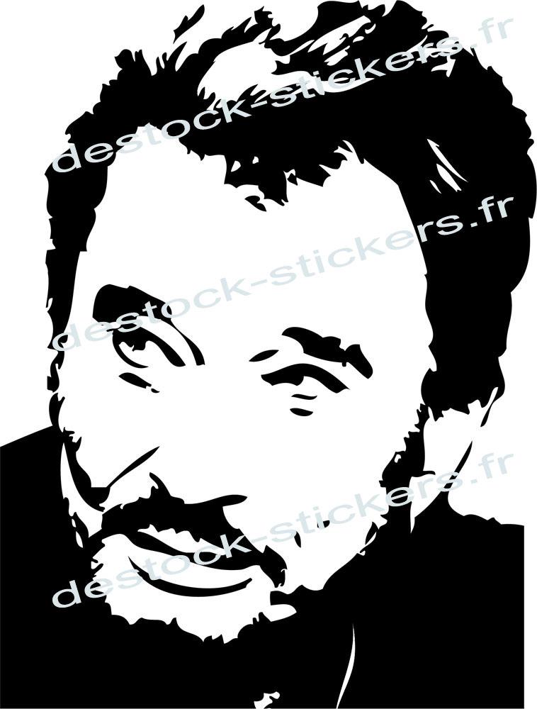 Stickers Johnny Hallyday Portrait 22 Musique Chanteurs Groupes