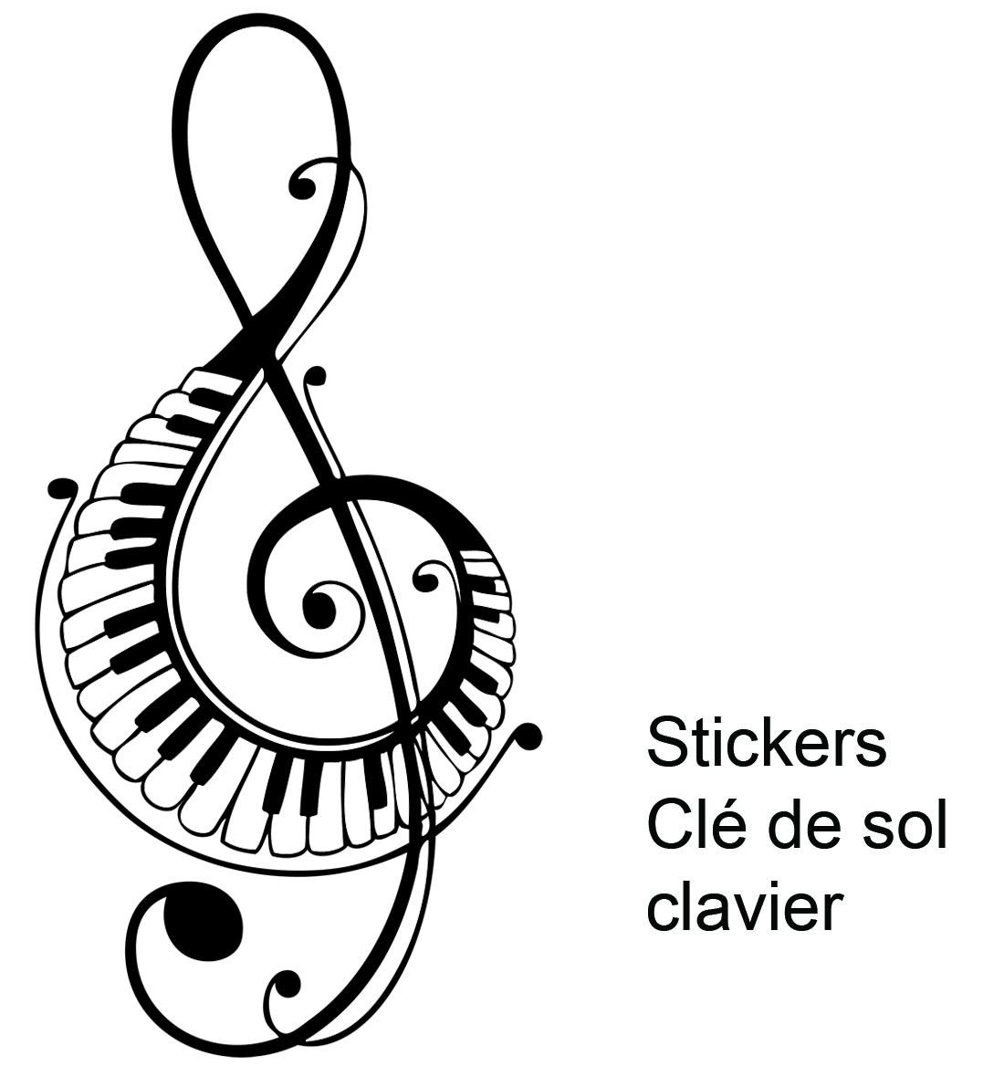 Stickers musique clé de sol clavier piano - Musique/instruments