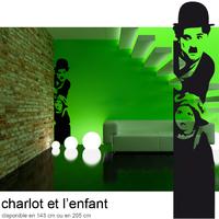 Stickers Charlot autocollant Charly Chaplin et l'Enfant
