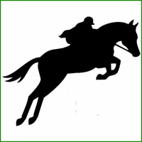 Sticker saut de cheval avec cavalier